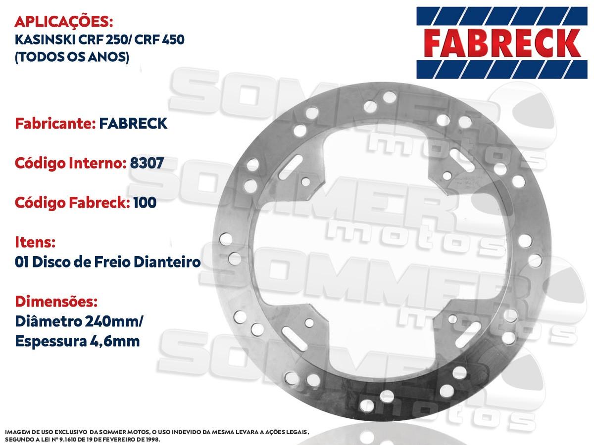 DISCO DE FREIO TRASEIRO KASINSKI CRF 250/ CRF 450 (TODOS OS ANOS) FABRECK