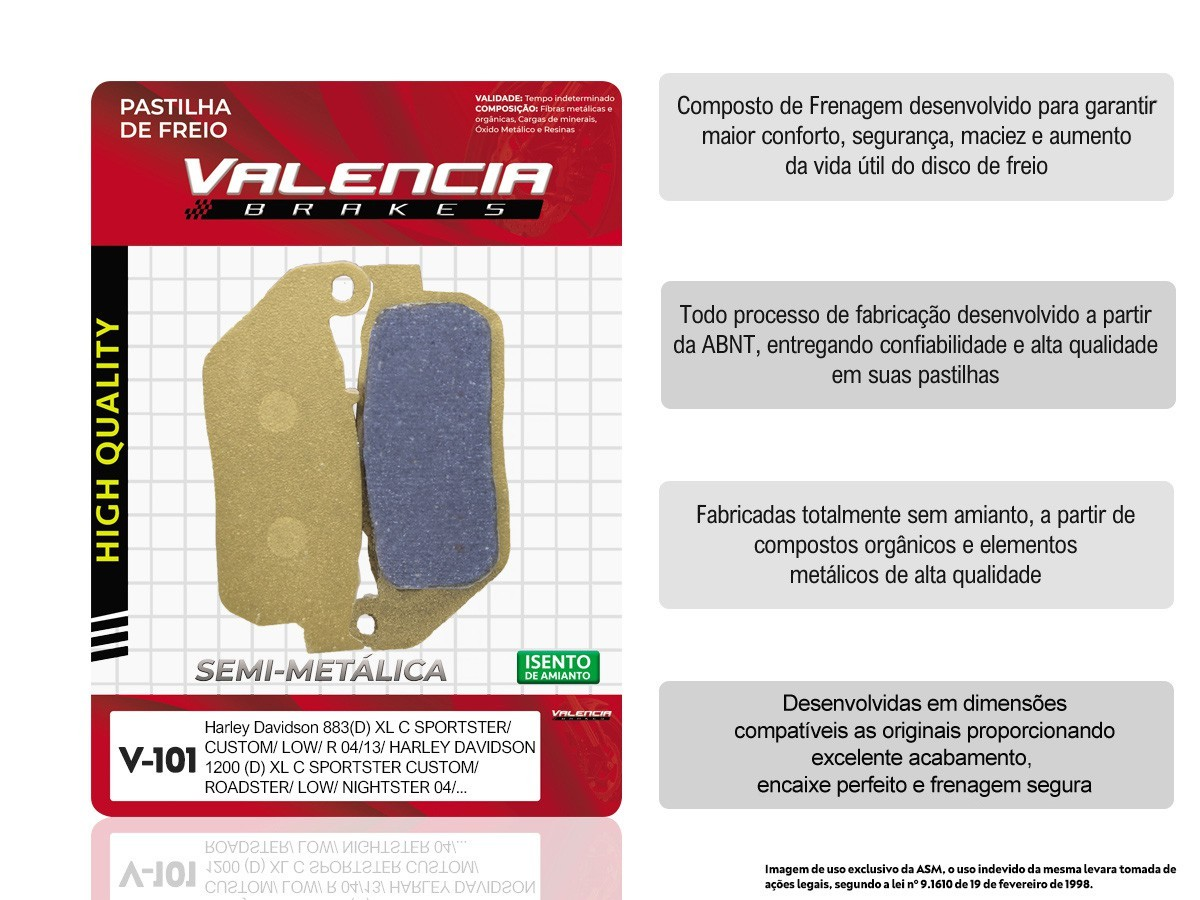 KIT 02 JOGOS DE PASTILHAS DE FREIO DIANTEIRA HARLEY DAVIDSON XL C SPORTSTER CUSTOM 883 2004 A 2013 VL BRAKES(V101-FJ2230)