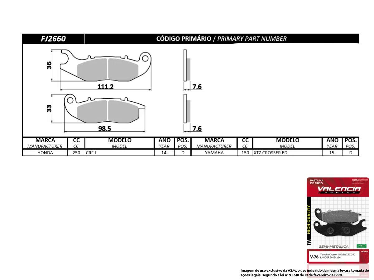 KIT 02 JOGOS DE PASTILHAS DE FREIO DIANTEIRA HONDA CRF 250 L 2014... VL BRAKES(V76-FJ2660)