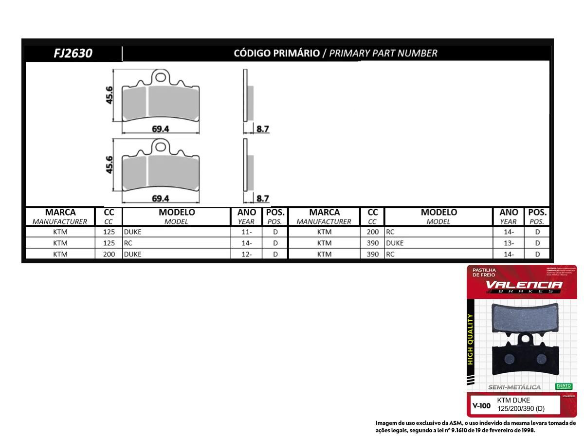 KIT 02 JOGOS DE PASTILHAS DE FREIO DIANTEIRA KTM RC 390CC 2014... VL BRAKES(V100-FJ2630)