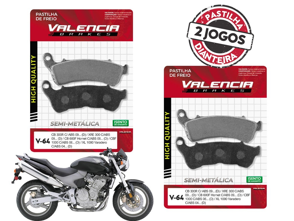 KIT 02 JOGOS DE PASTILHAS DE FREIO DIANTEIRO HONDA CB HORNET 600 C/ABS 2008...(FREIO DUPLO) VL BRAKES(V64-FJ2360)