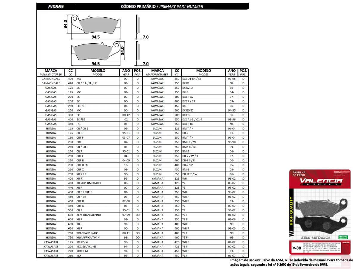 KIT 02 JOGOS DE PASTILHAS DE FREIO DIANTEIRO HONDA CRF 250R 2004 A 2009 VL BRAKES(V38-FJ0865)