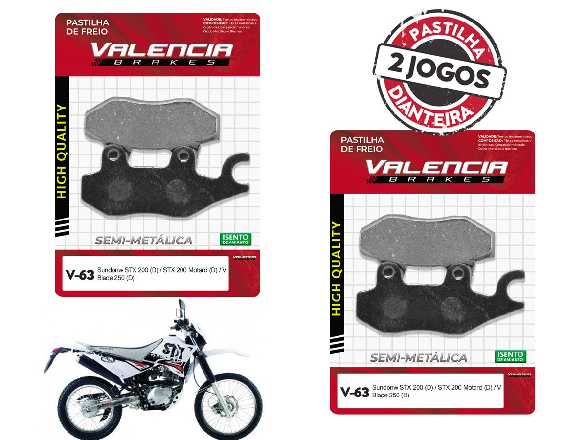 KIT 02 JOGOS DE PASTILHAS DE FREIO DIANTEIRO SUNDOWN STX 200CC 2006... VL BRAKES(V63-FJ2080)