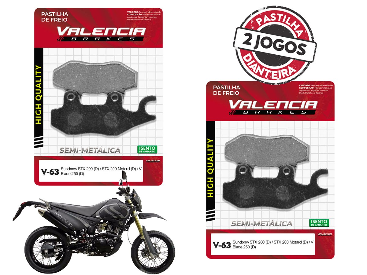 KIT 02 JOGOS DE PASTILHAS DE FREIO DIANTEIRO SUNDOWN STX MOTARD 200CC 2006... VL BRAKES(V63-FJ2080)