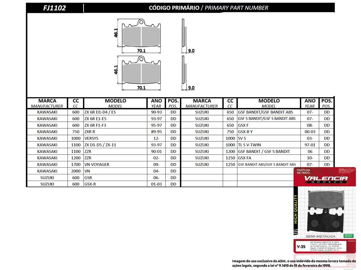 KIT 02 JOGOS DE PASTILHAS DE FREIO DIANTEIRO SUZUKI GSF BANDIT 650/GSF BANDIT 650 C/ABS 2007... (FREIO DUPLO) VL BRAKES(V35-FJ1102)