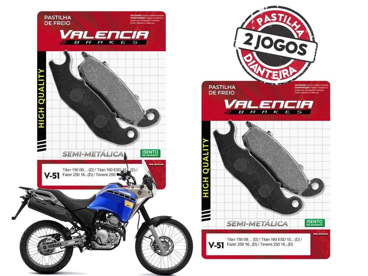 KIT 02 JOGOS DE PASTILHAS DE FREIO DIANTEIRO YAMAHA TENERE 250 2016... VL BRAKES(V51-FJ2090)