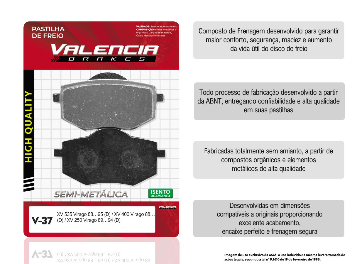 KIT 02 JOGOS DE PASTILHAS DE FREIO DIANTEIRO YAMAHA VIRAGO 250 1989 A 1994 VL BRAKES(V37-FJ1580)