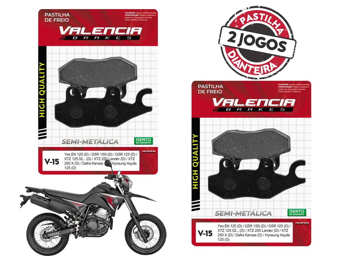 KIT 02 JOGOS DE PASTILHAS DE FREIO DIANTEIRO YAMAHA XTZ 250X (LANDER X) 2008/... VL BRAKES (V15-FJ0940)