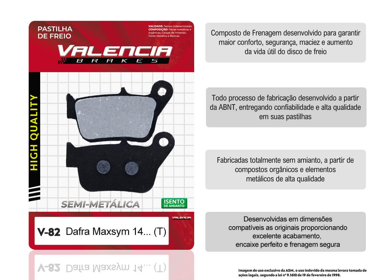 KIT 02 JOGOS DE PASTILHAS DE FREIO TRASEIRA DAFRA MAXSYM 400 (TODOS OS ANOS) VL BRAKES(V82-FJ2620)