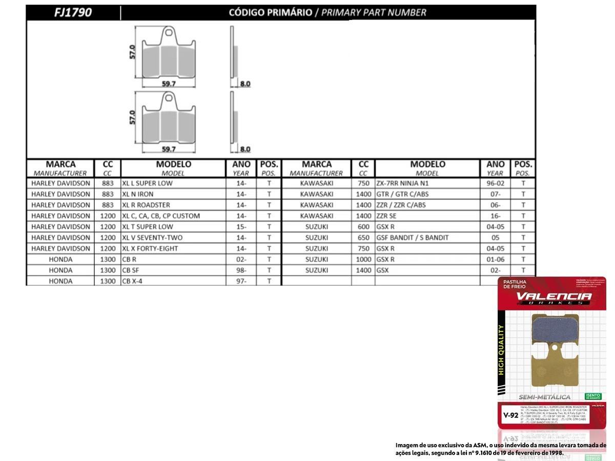 KIT 02 JOGOS DE PASTILHAS DE FREIO TRASEIRA HARLEY DAVIDSON XL C/ CA/ CB/ CP CUSTOM 1200 2014... VL BRAKES(V92-FJ1790)