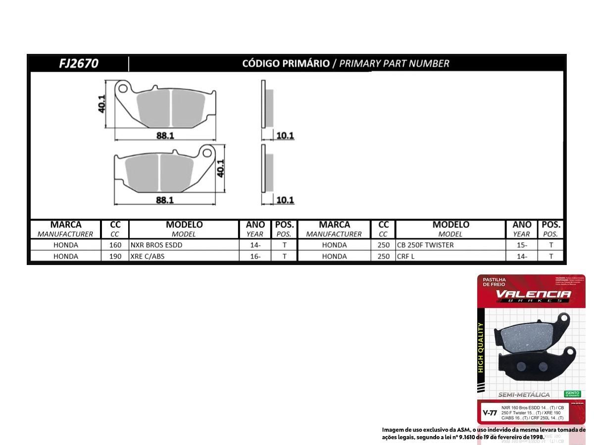 KIT 02 JOGOS DE PASTILHAS DE FREIO TRASEIRA HONDA CRF 250 L 2014... VL BRAKES(V77-FJ2670)