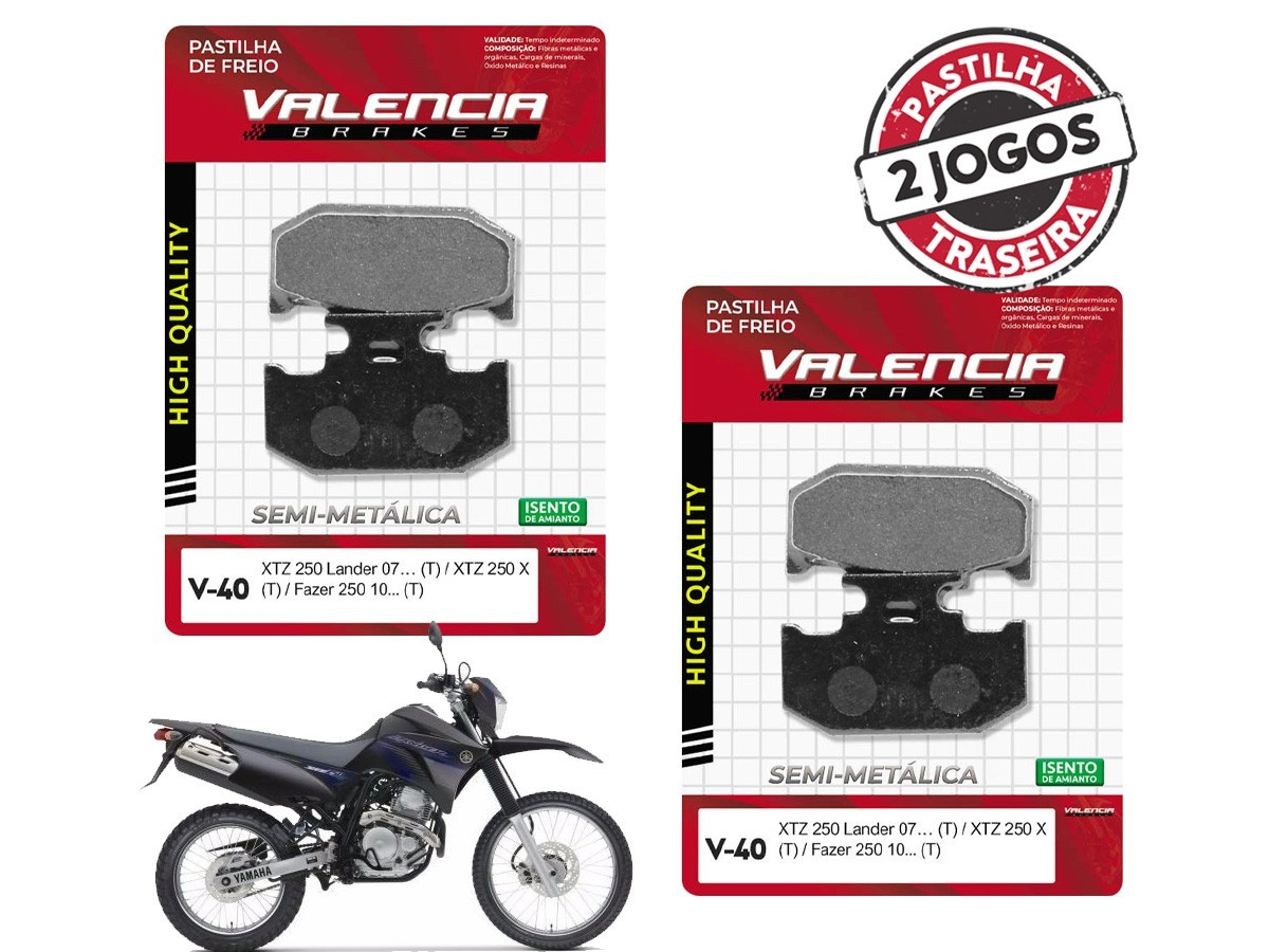 KIT 02 JOGOS DE PASTILHAS DE FREIO TRASEIRA YAMAHA XTZ 250 LANDER 2007... VL BRAKES(V40-FJ2190)