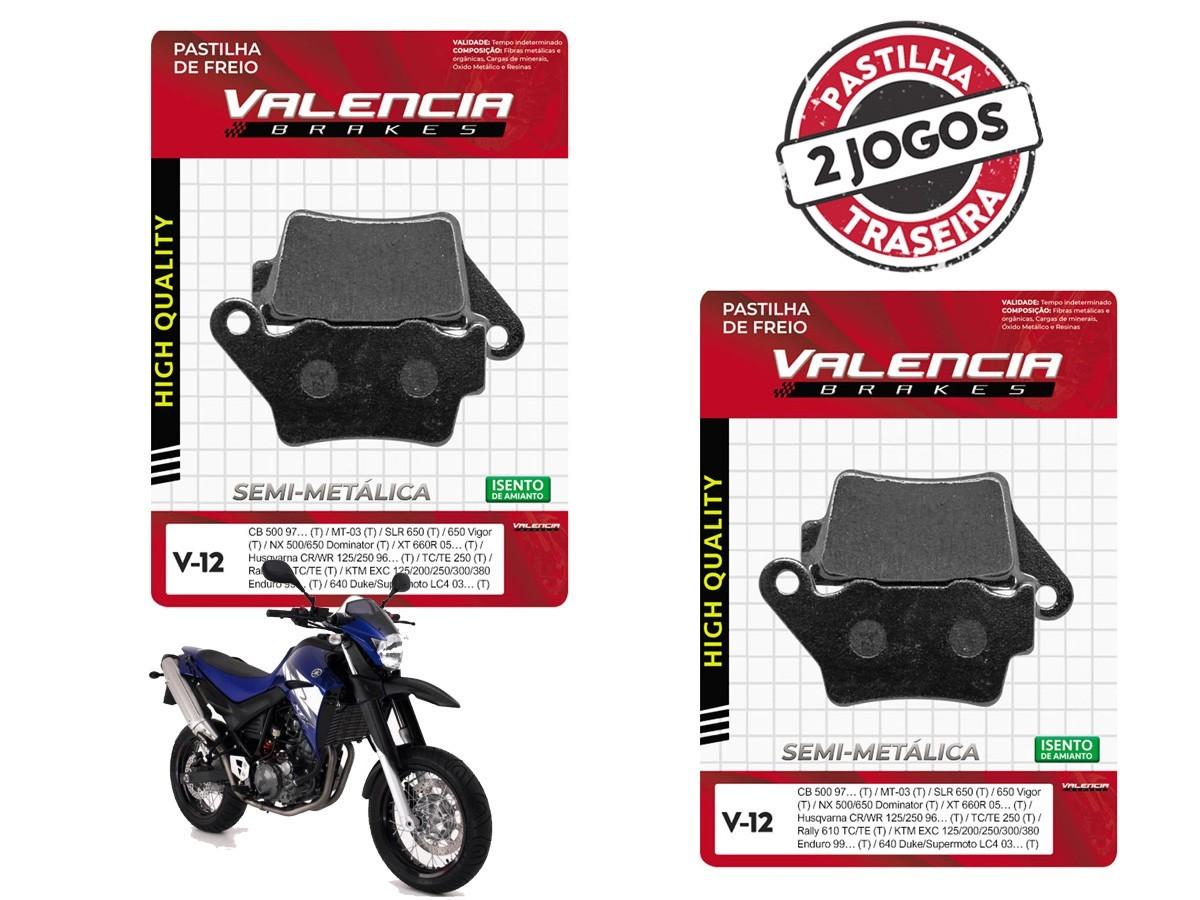 KIT 02 JOGOS DE PASTILHAS DE FREIO TRASEIRAS YAMAHA XT 660X 2004/... VL BRAKES (V12-FJ1070)