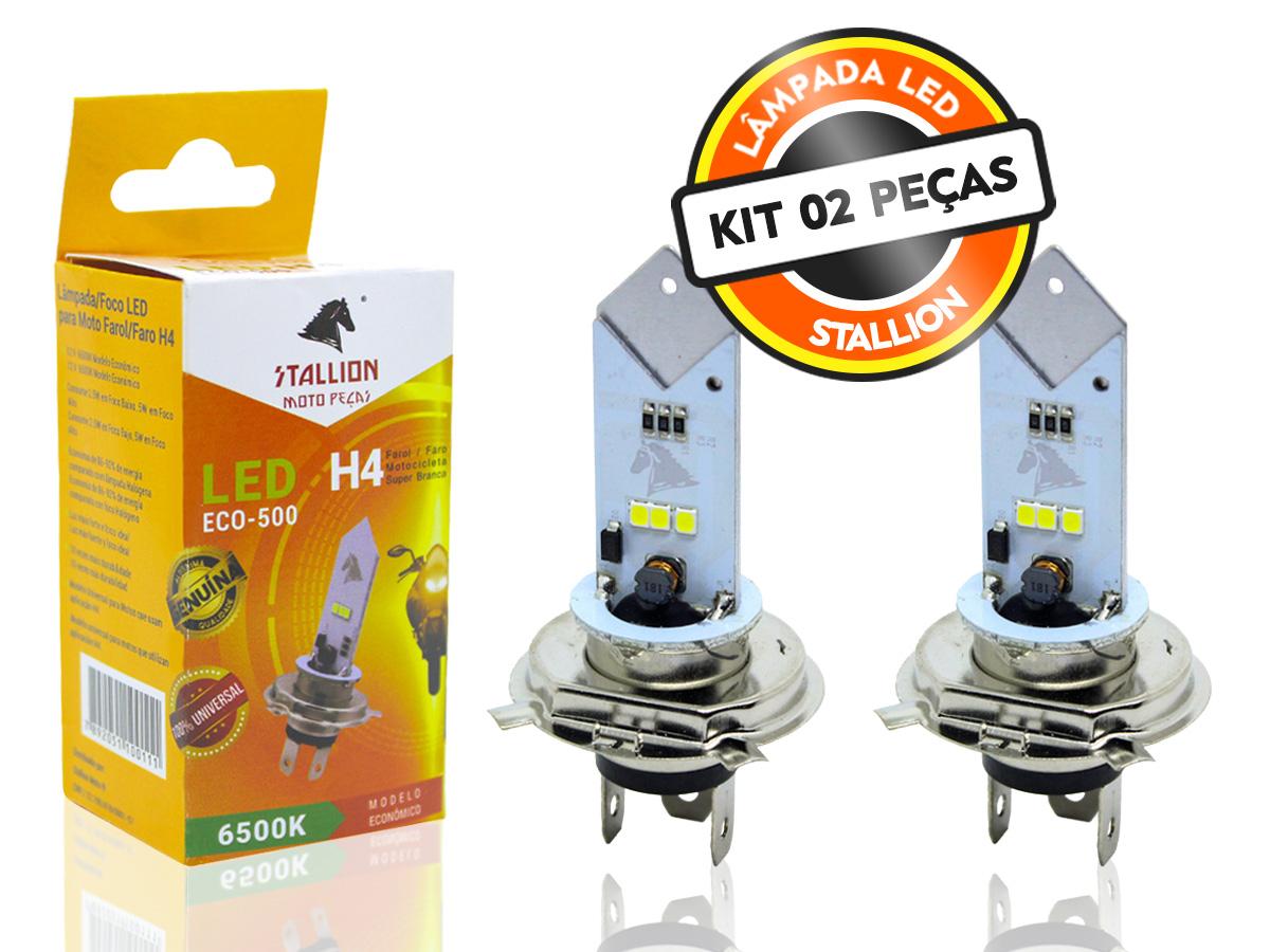 KIT 02 LÂMPADAS FAROL LED H4 6500K (EFEITO XENON) STALLION