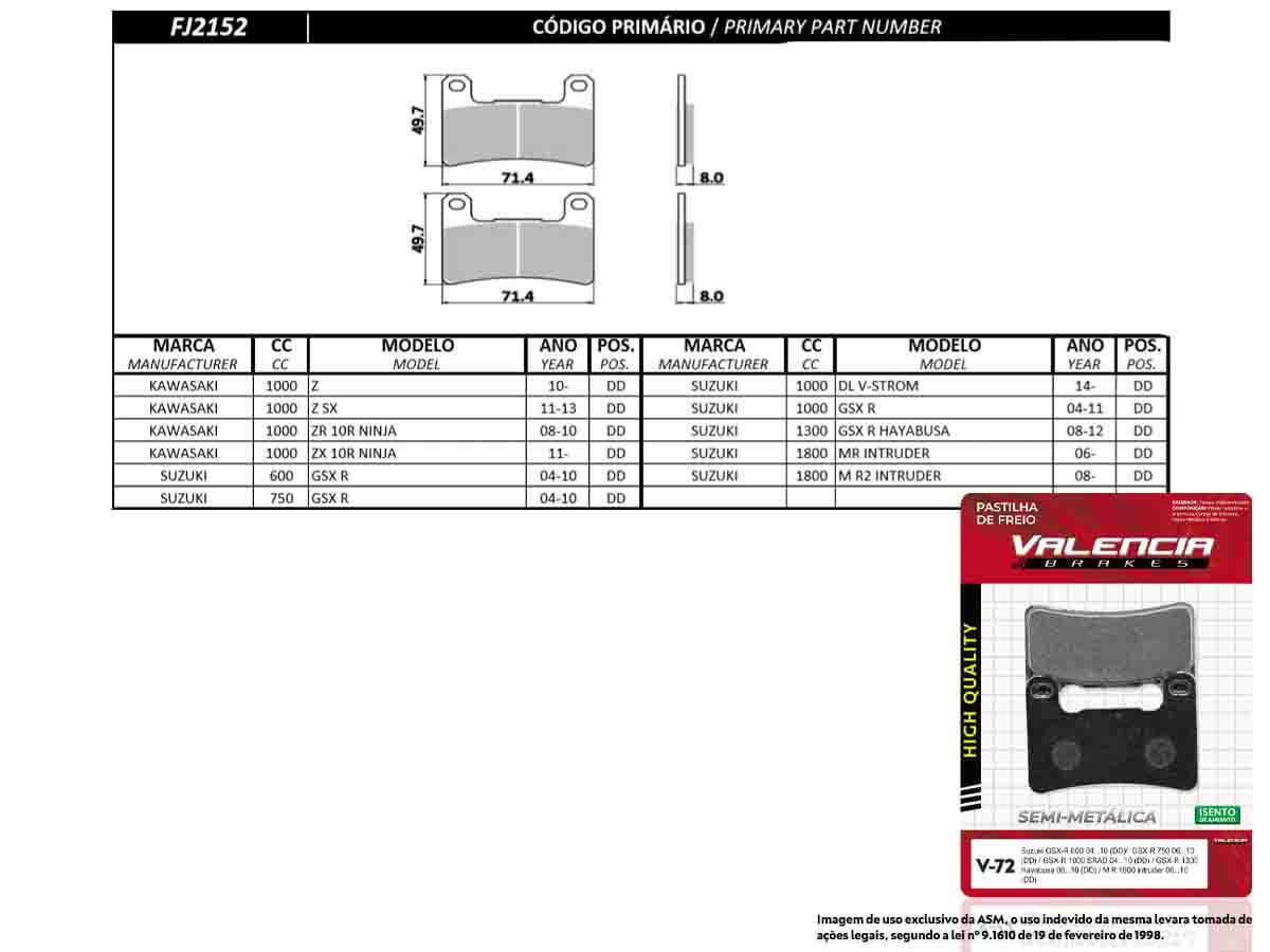 KIT 03 JOGOS DE PASTILHAS DE FREIO DIANTEIRA SUZUKI GSX R HAYABUSA 1300 2008 A 2012 (FREIO DUPLO) VL BRAKES(V72-FJ2152)