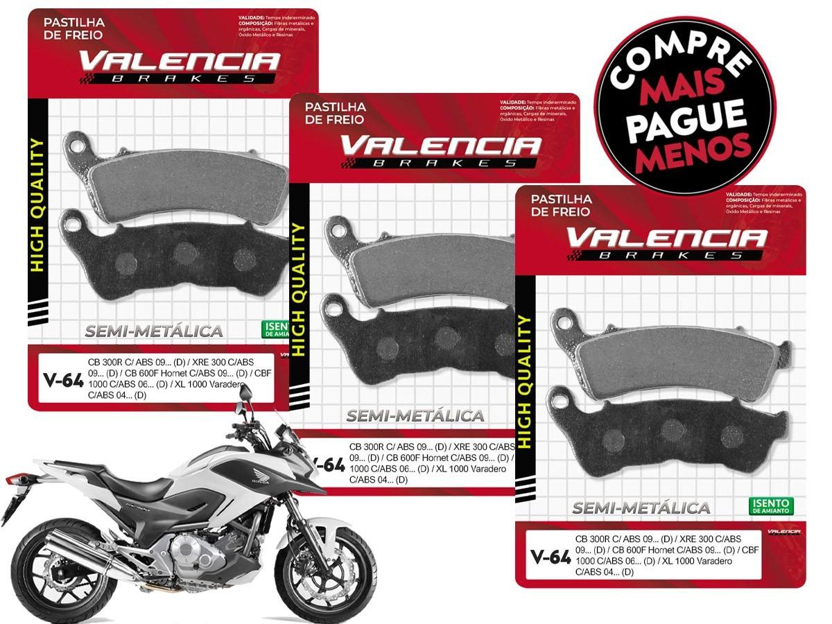 KIT 03 JOGOS DE PASTILHAS DE FREIO DIANTEIRO HONDA NC 700 X C/ABS 2012...(FREIO DUPLO) VL BRAKES(V64-FJ2360)