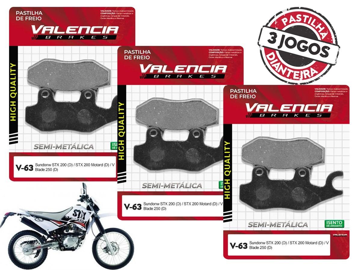 KIT 03 JOGOS DE PASTILHAS DE FREIO DIANTEIRO SUNDOWN STX 200CC 2006... VL BRAKES(V63-FJ2080)