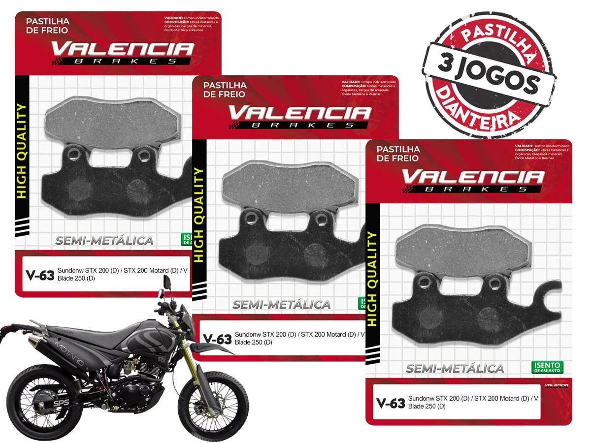 KIT 03 JOGOS DE PASTILHAS DE FREIO DIANTEIRO SUNDOWN STX MOTARD 200CC 2006... VL BRAKES(V63-FJ2080)