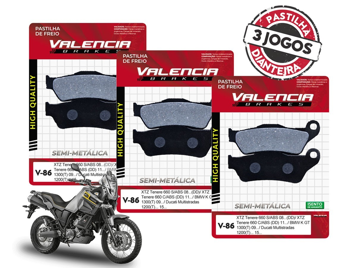 KIT 03 JOGOS DE PASTILHAS DE FREIO DIANTEIRO YAMAHA XTZ TENERE 660 C/ ABS 2011... VL BRAKES(V86-FJ1040)