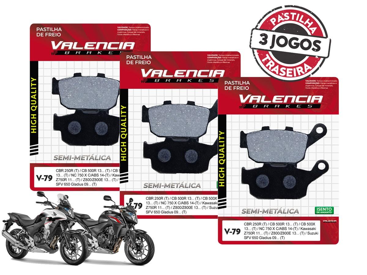 KIT 03 JOGOS DE PASTILHAS DE FREIO TRASEIRA HONDA CB 500 F / CB 500 X 2013... VL BRAKES(V79-FJ2600)