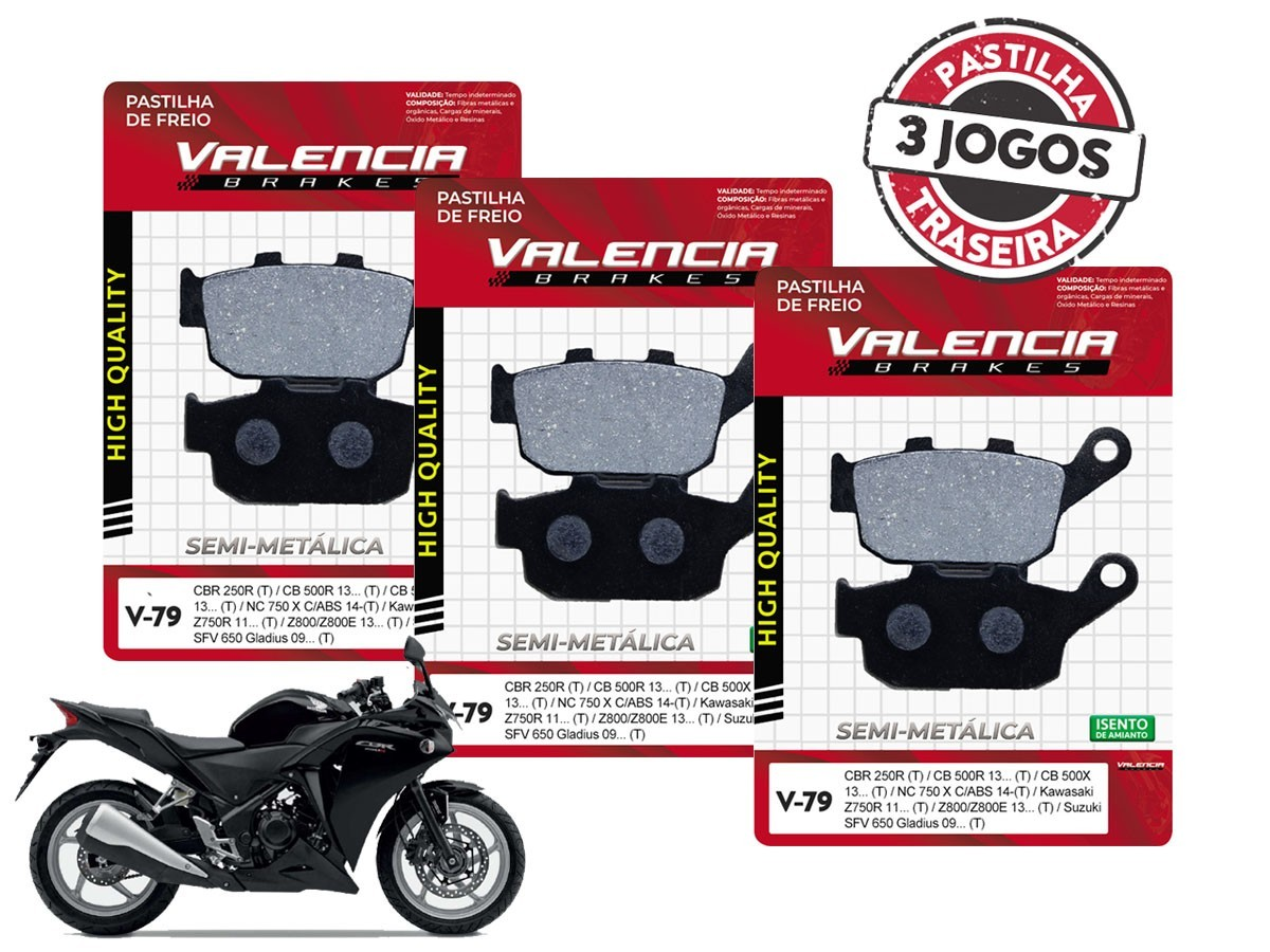 KIT 03 JOGOS DE PASTILHAS DE FREIO TRASEIRA HONDA CBR 250 R C/ABS 2011... VL BRAKES(V79-FJ2600)