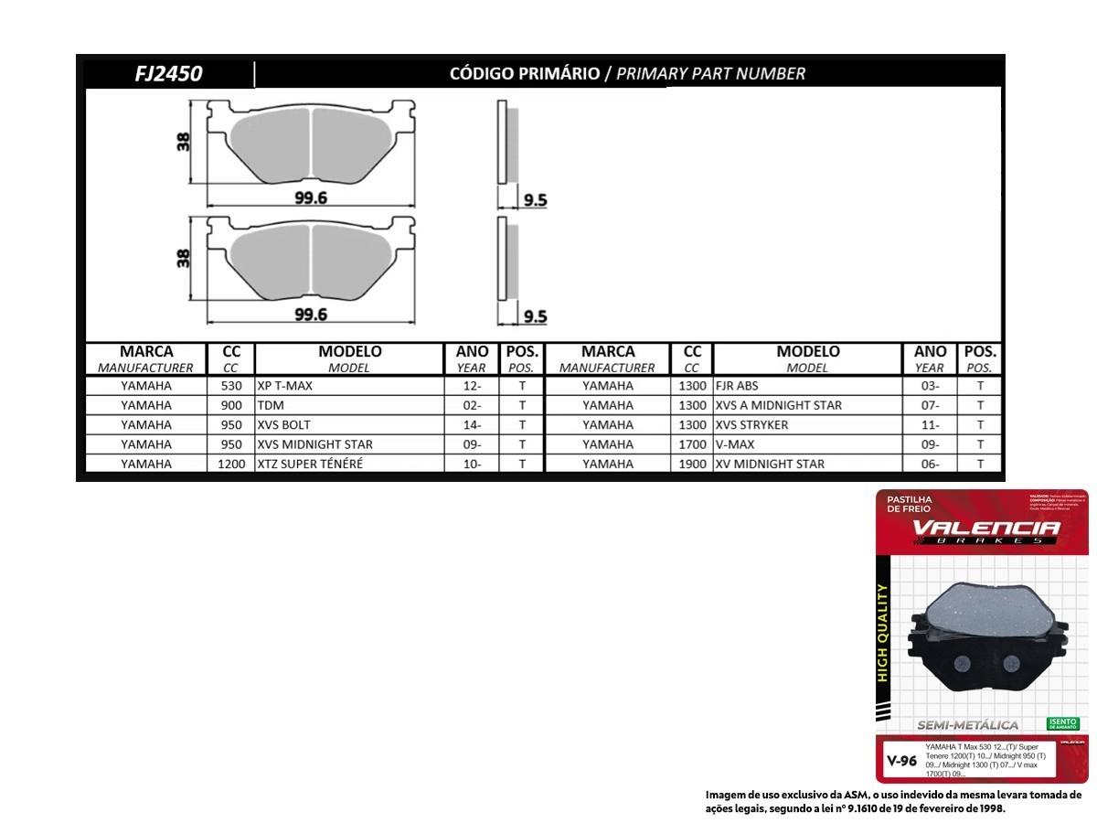 KIT 03 JOGOS DE PASTILHAS DE FREIO TRASEIRA YAMAHA XP T-MAX 530 2012... VL BRAKES(V96-FJ2450)