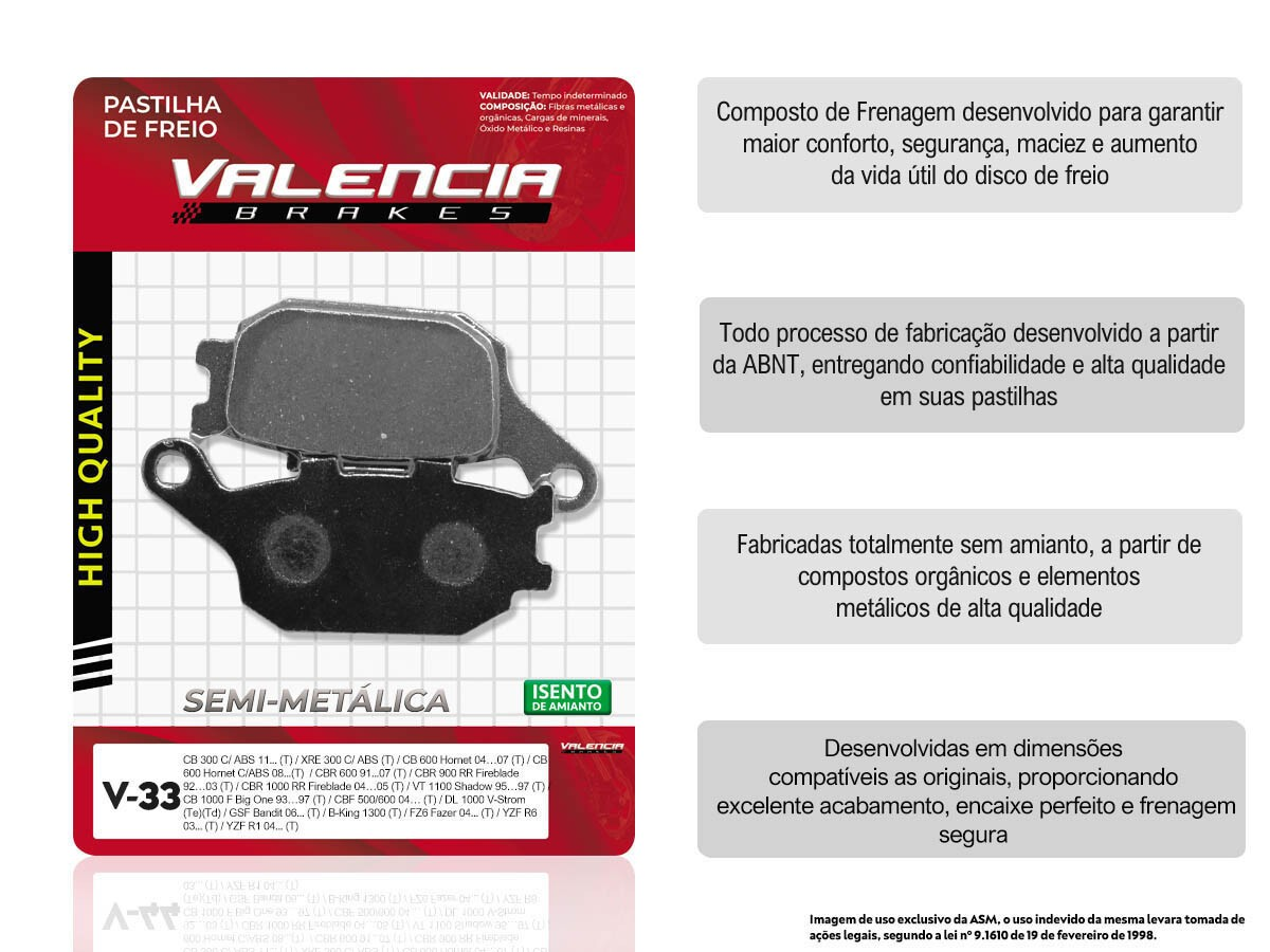 KIT 03 JOGOS DE PASTILHAS DE FREIO TRASEIRO HONDA CB 500F / CB 500F C/ABS 2004... VL BRAKES(V33-FJ1150)