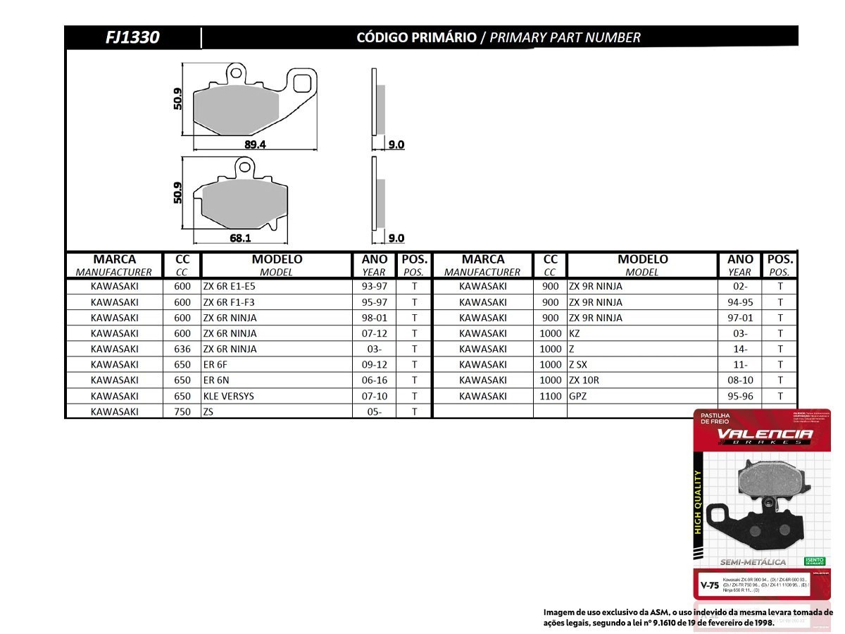 KIT 03 JOGOS DE PASTILHAS DE FREIO TRASEIRO KAWASAKI KLE VERSYS 650 2007 A 2010 VL BRAKES(V75-FJ1330)