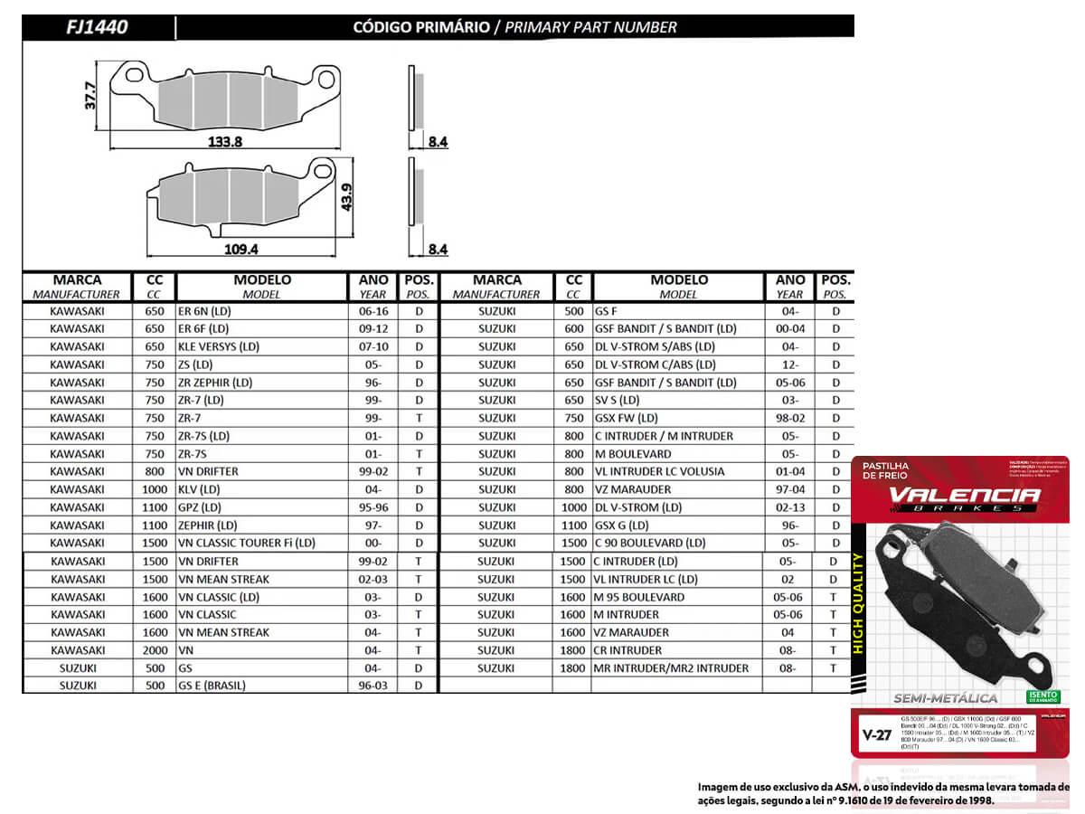 KIT 05 JOGOS DE PASTILHAS DE FREIO DIANTEIRO DIREITO SUZUKI DL V-STROM 650 S/ABS 2004/... VL BRAKES (V27-FJ1440)