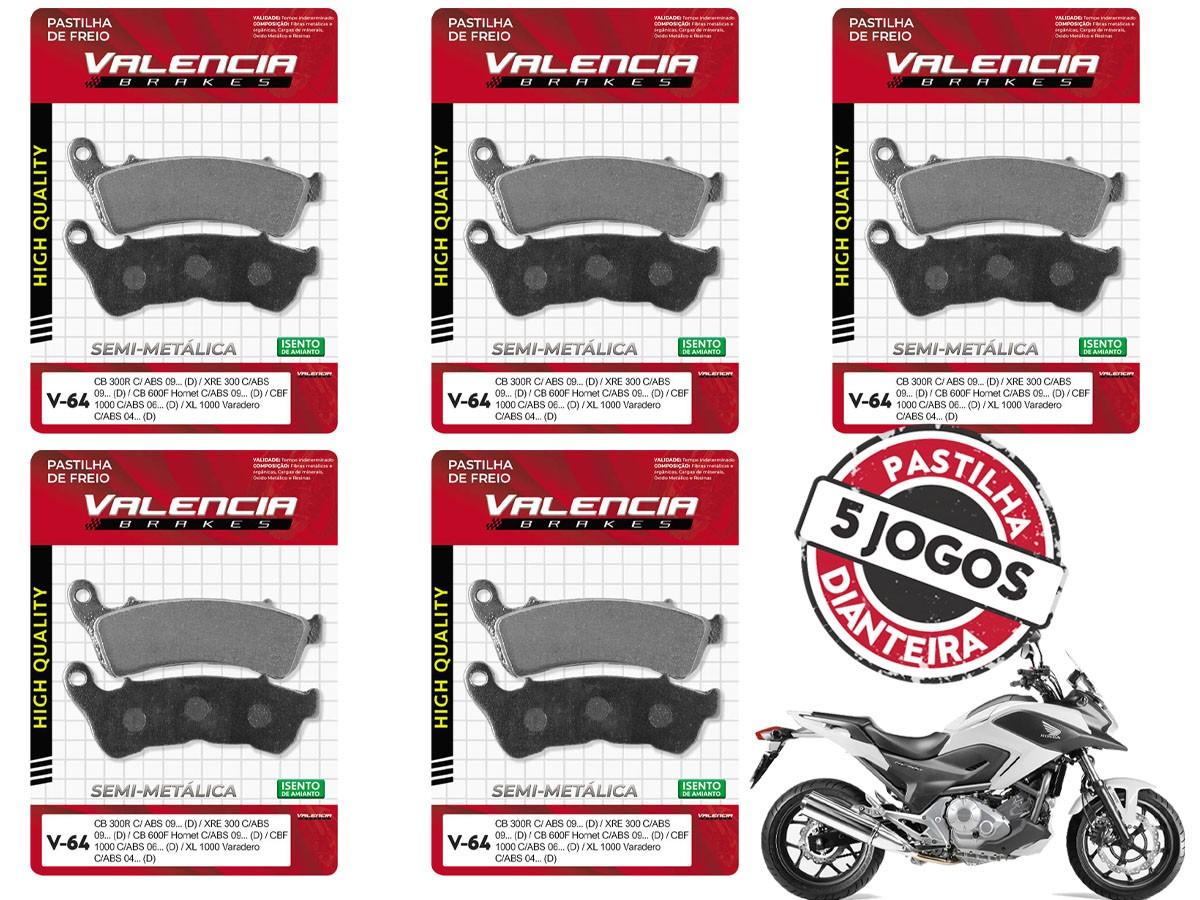 KIT 05 JOGOS DE PASTILHAS DE FREIO DIANTEIRO HONDA NC 700 X C/ABS 2012...(FREIO DUPLO) VL BRAKES(V64-FJ2360)