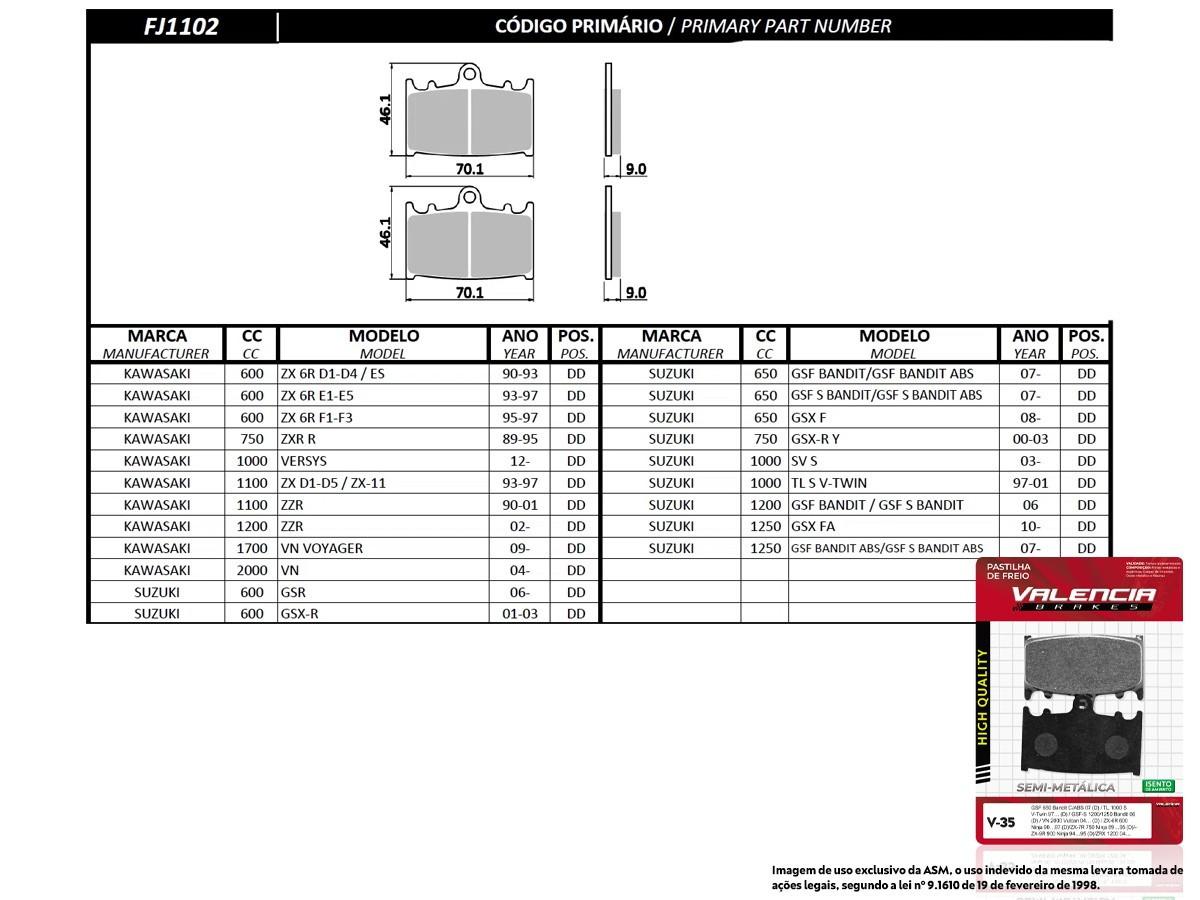 KIT 05 JOGOS DE PASTILHAS DE FREIO DIANTEIRO SUZUKI GSF BANDIT 650/GSF BANDIT 650 C/ABS 2007... (FREIO DUPLO) VL BRAKES(V35-FJ1102)