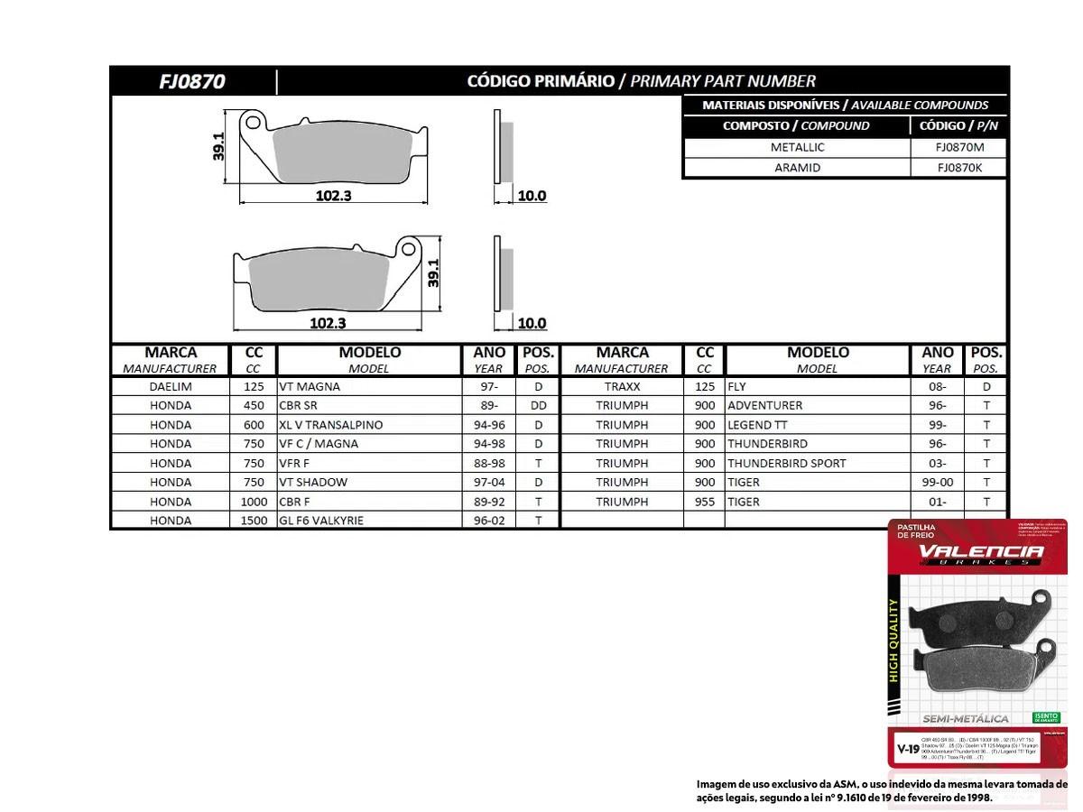 KIT 05 JOGOS DE PASTILHAS DE FREIO DIANTEIRO TRAXX FLY 125CC 2008/... VL BRAKES (V19-FJ0870)