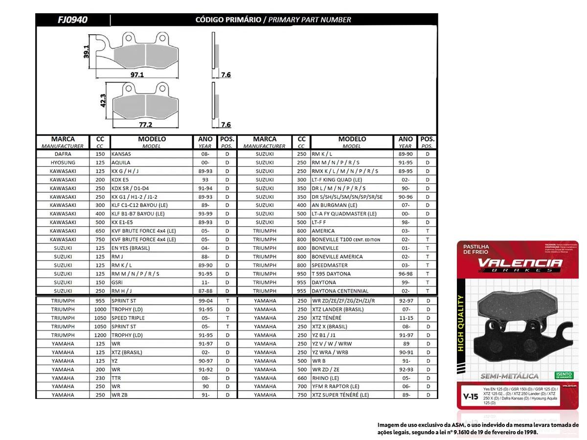 KIT 05 JOGOS DE PASTILHAS DE FREIO DIANTEIRO YAMAHA XTZ 125 (TODOS OS ANOS) VL BRAKES (V15-FJ0940)