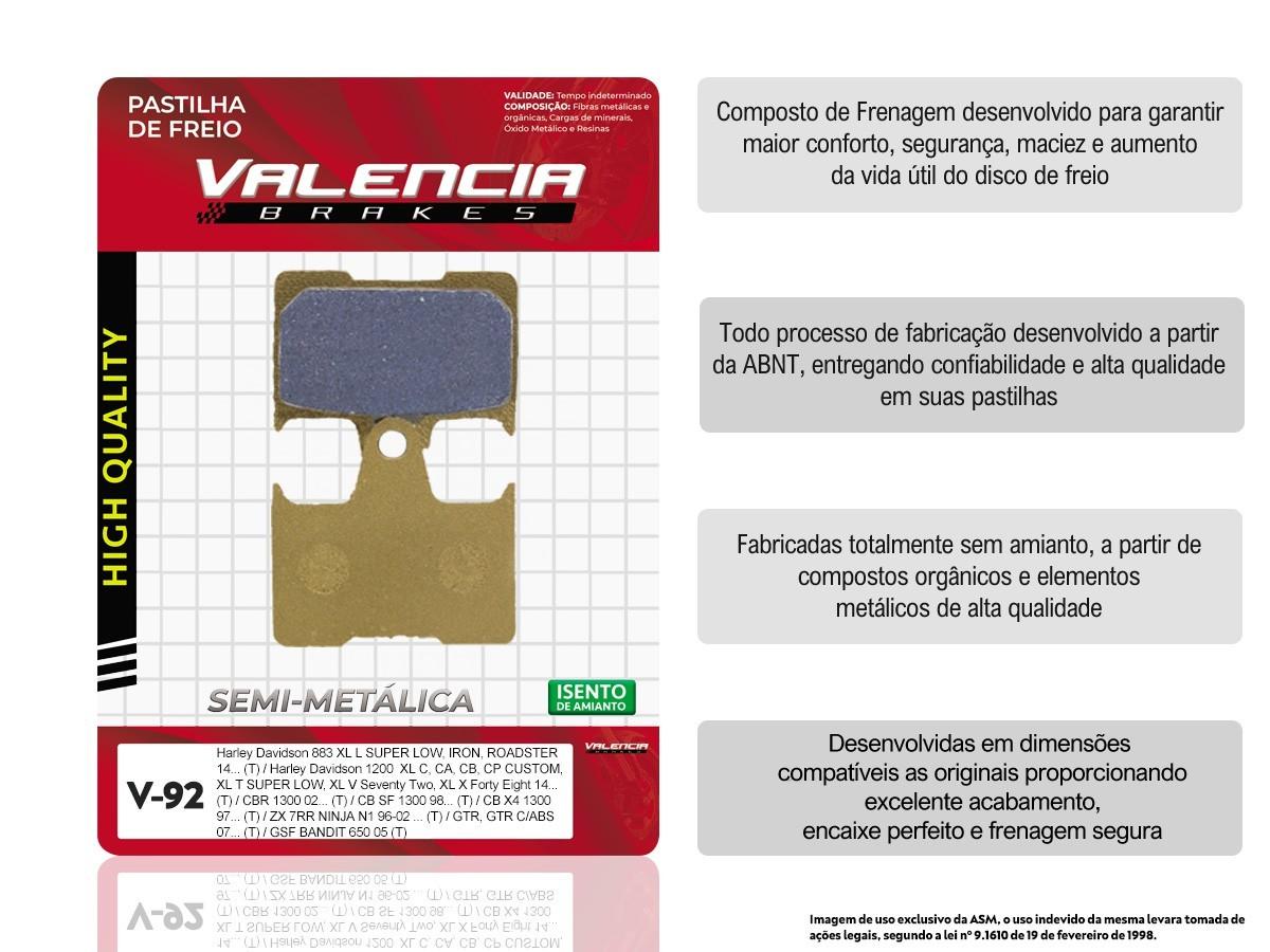 KIT 05 JOGOS DE PASTILHAS DE FREIO TRASEIRA HARLEY DAVIDSON XL C/ CA/ CB/ CP CUSTOM 1200 2014... VL BRAKES(V92-FJ1790)