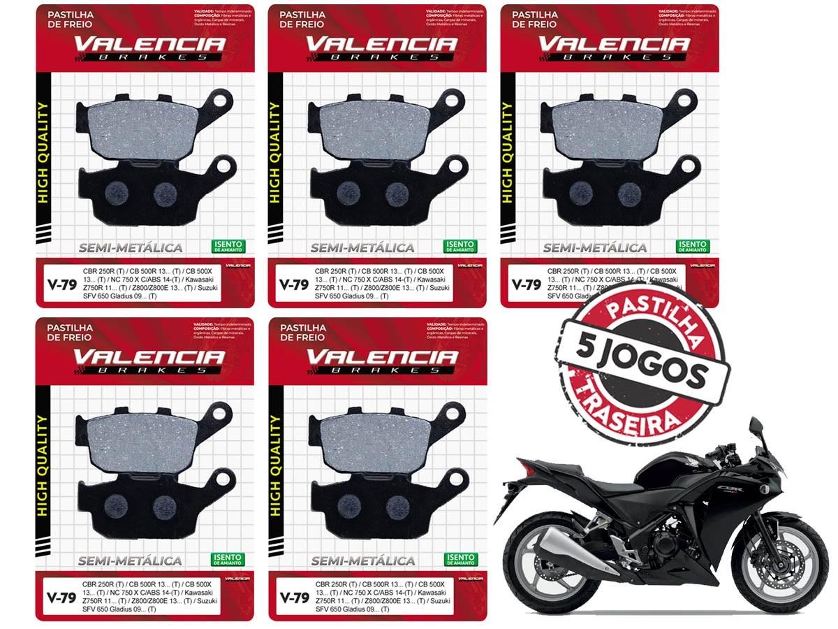 KIT 05 JOGOS DE PASTILHAS DE FREIO TRASEIRA HONDA CBR 250 R C/ABS 2011... VL BRAKES(V79-FJ2600)
