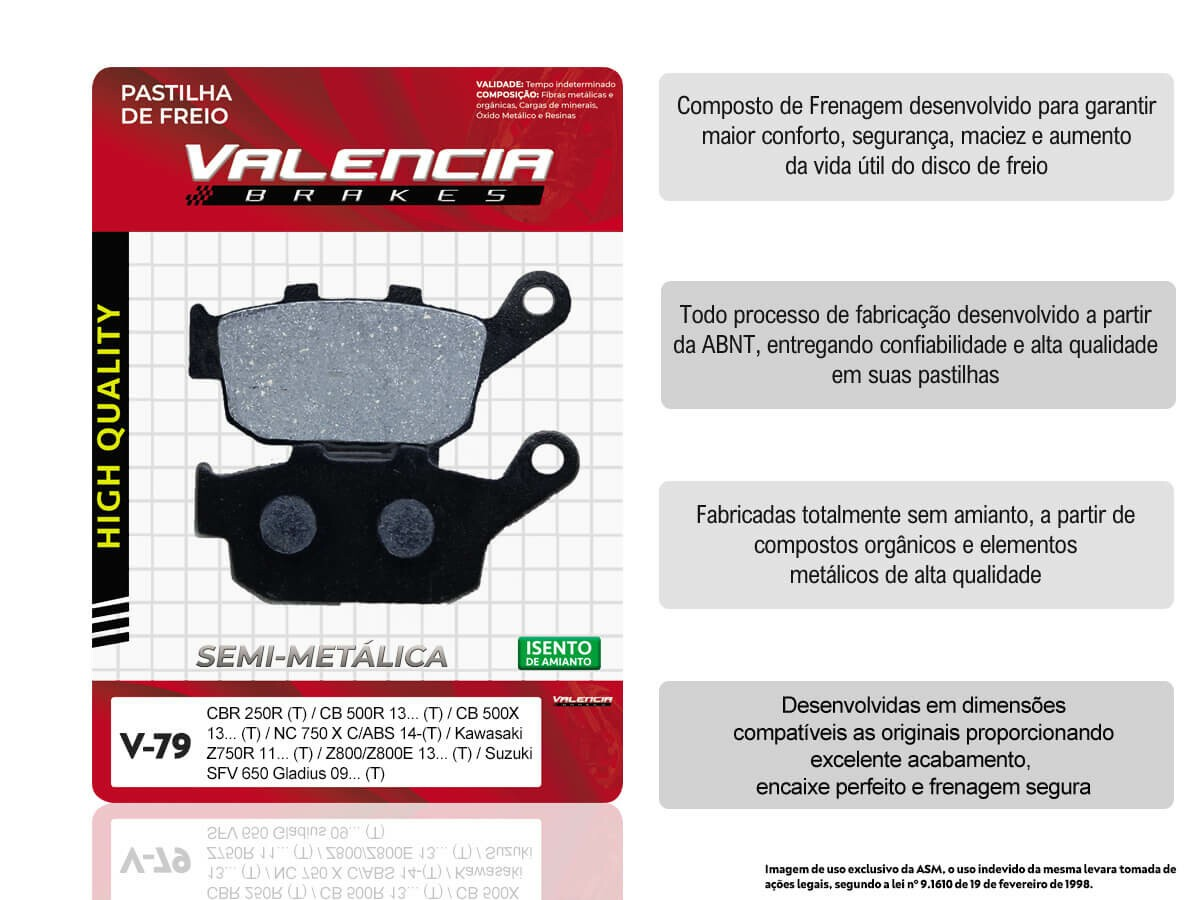 KIT 05 JOGOS DE PASTILHAS DE FREIO TRASEIRA HONDA CBR 250 R S/ABS 2011... VL BRAKES(V79-FJ2600)
