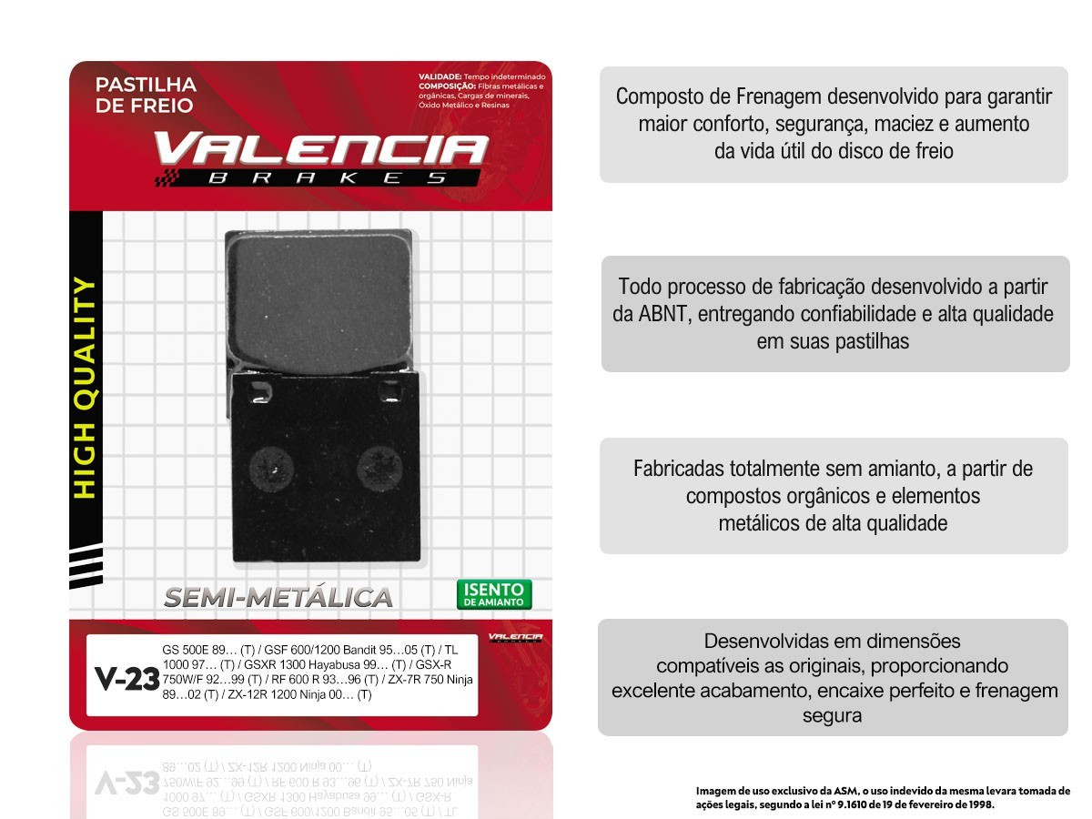 KIT 05 JOGOS DE PASTILHAS DE FREIO TRASEIRAS SUZUKI GS 500F 2004/... VL BRAKES (V23-FJ0920)