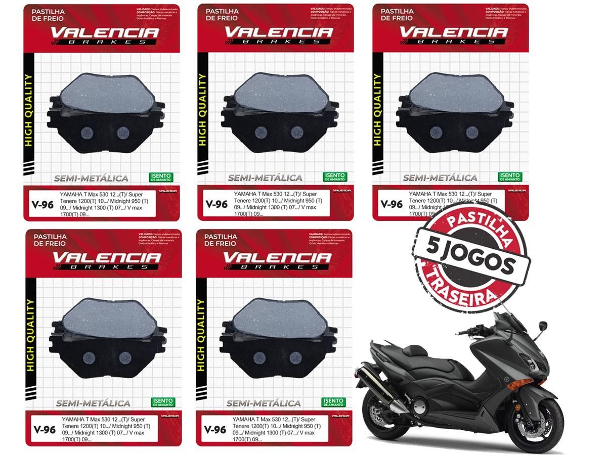KIT 05 JOGOS DE PASTILHAS DE FREIO TRASEIRA YAMAHA XP T-MAX 530 2012... VL BRAKES(V96-FJ2450)