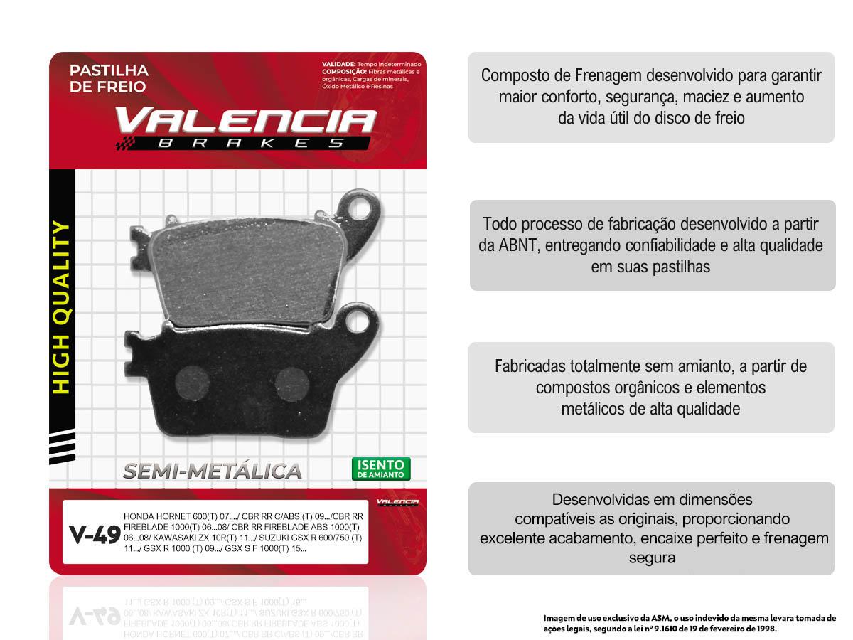 KIT 05 JOGOS DE PASTILHAS DE FREIO TRASEIRO HONDA CB HORNET 600 S/ABS 2008... VL BRAKES(V49-FJ2260)