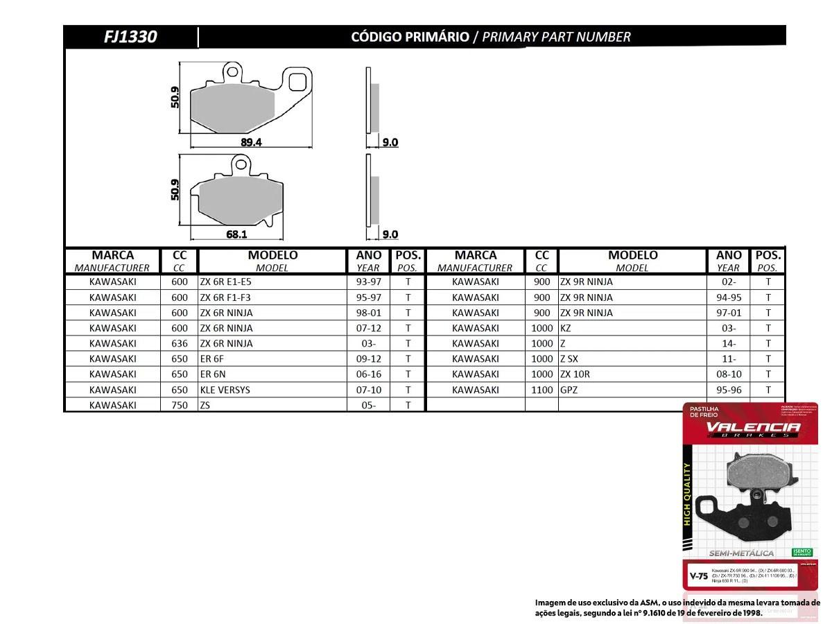 KIT 05 JOGOS DE PASTILHAS DE FREIO TRASEIRO KAWASAKI ER 6F 650 2009 A 2012 VL BRAKES(V75-FJ1330)