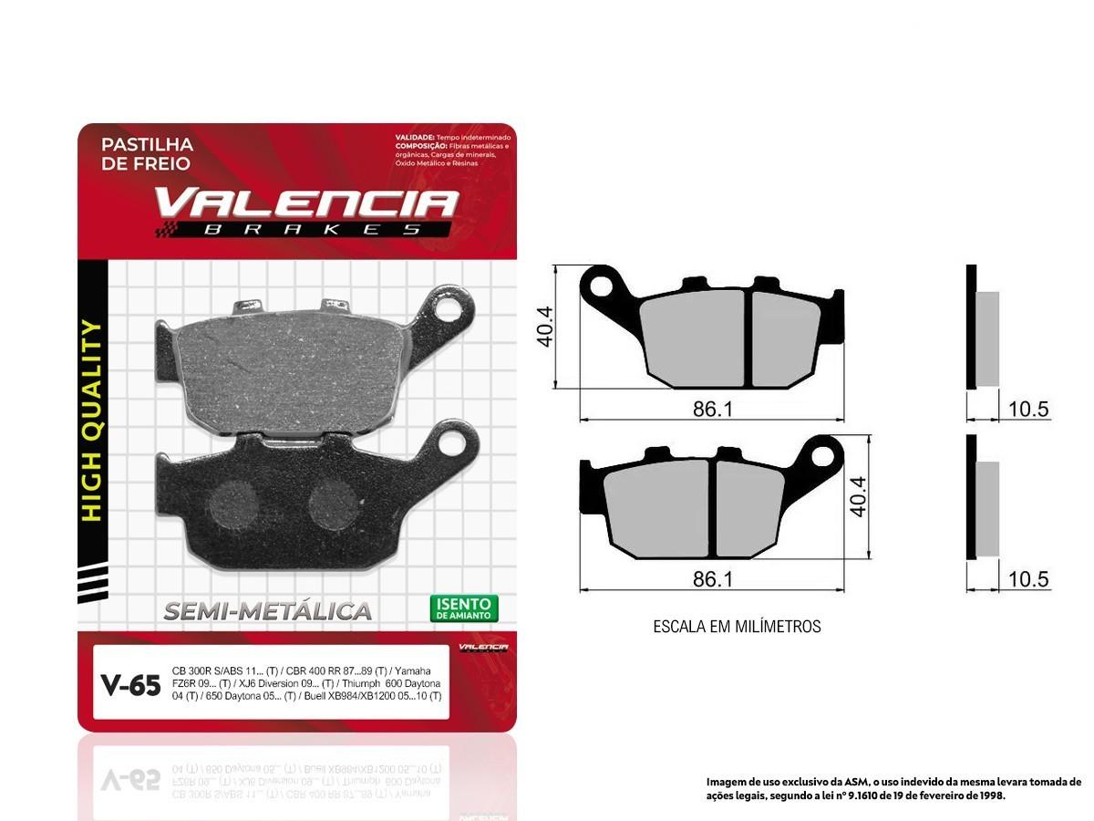 KIT 05 JOGOS DE PASTILHAS DE FREIO TRASEIRO TRIUMPH TIGER 800 XC ABS 2012 A 2014 VL BRAKES(V65-FJ1160)
