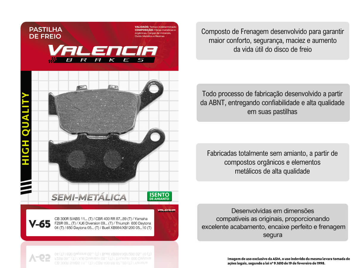 KIT 05 JOGOS DE PASTILHAS DE FREIO TRASEIRO YAMAHA XJ 6 DIVERSION 600CC 2009... VL BRAKES(V65-FJ1160)