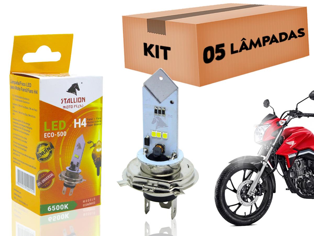 KIT 05 LÂMPADAS FAROL LED H4 6500K (EFEITO XENON) STALLION