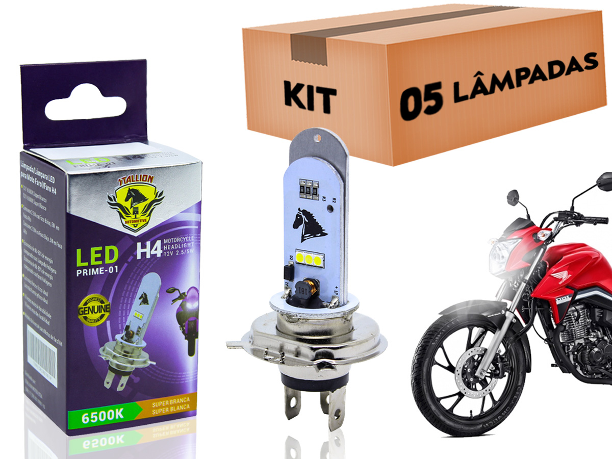 KIT 05 LÂMPADAS FAROL LED H4 YAMAHA XT 660/ V-MAX 1200 (EFEITO XENON) STALLION
