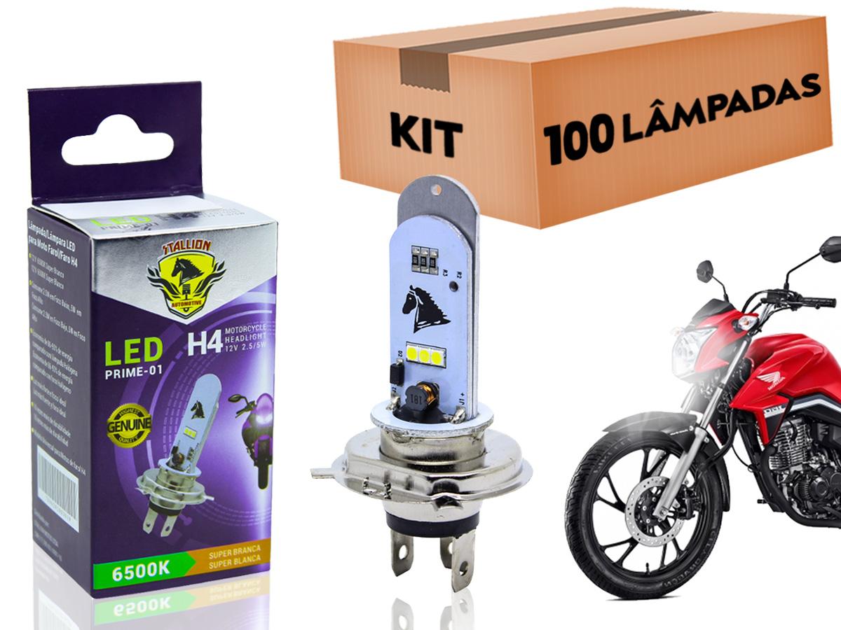 KIT 100 LÂMPADAS FAROL LED H4 YBR/ FACTOR/ XTZ 125 (EFEITO XENON) STALLION