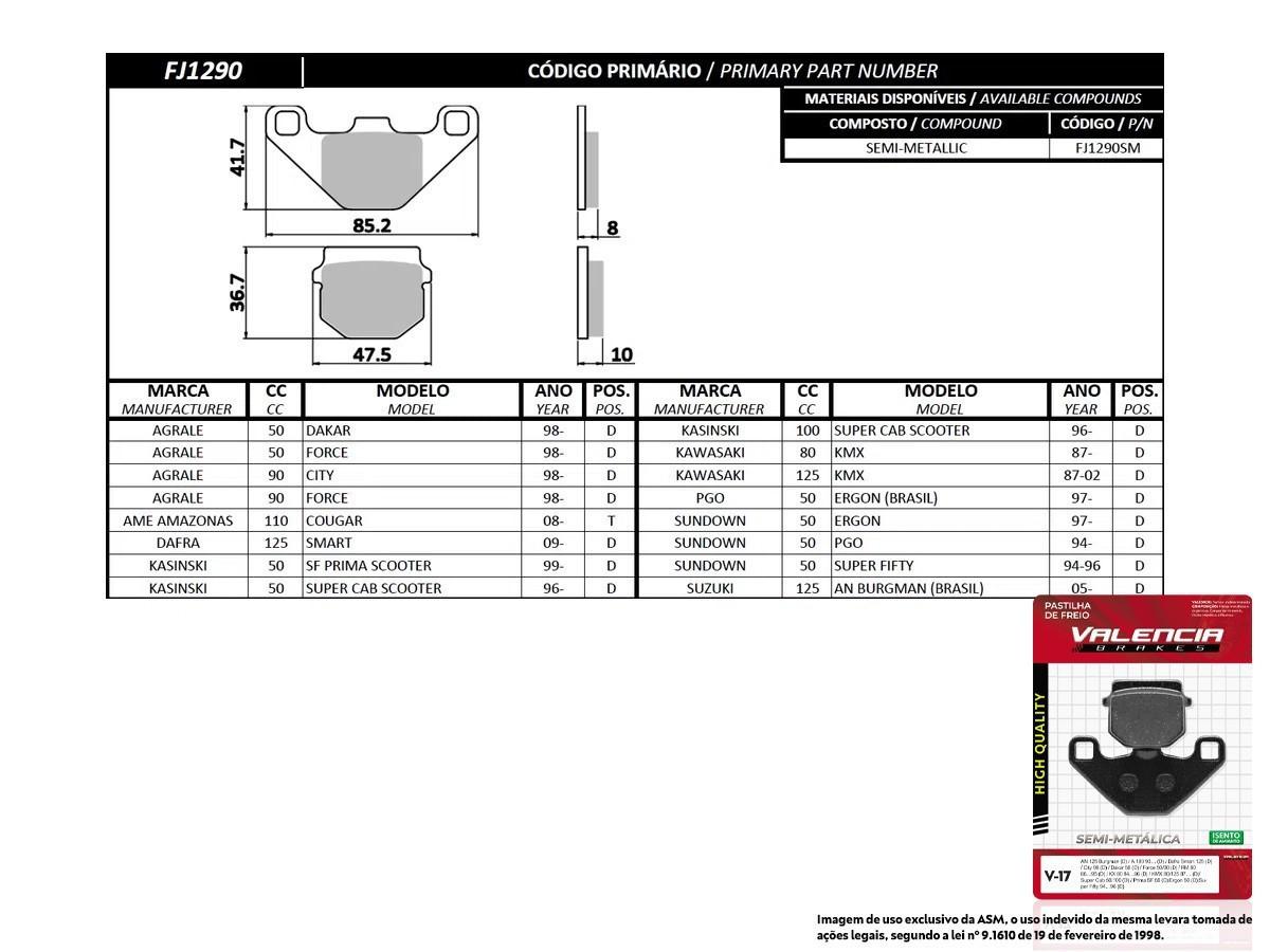 KIT 10 JOGOS DE PASTILHAS DE FREIO DIANTEIRO DAFRA SMART 125CC 2009/... VL BRAKES (V17-FJ1290)