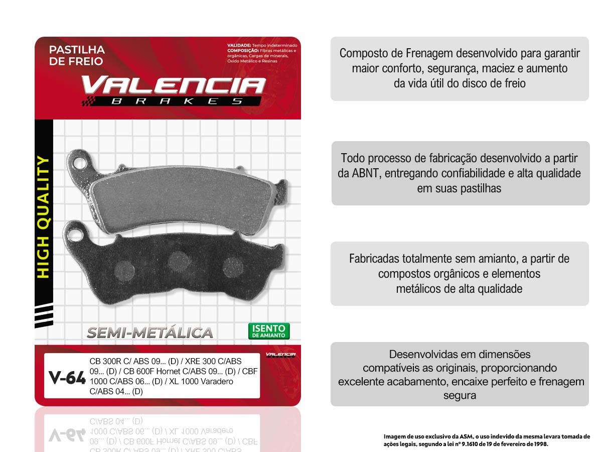 KIT 10 JOGOS DE PASTILHAS DE FREIO DIANTEIRO HONDA NC 700 X C/ABS 2012...(FREIO DUPLO) VL BRAKES(V64-FJ2360)