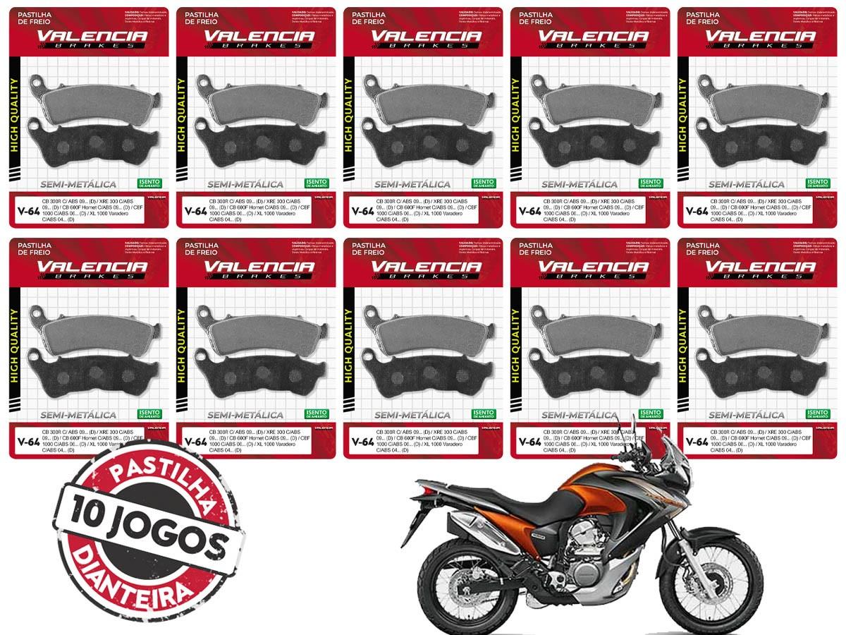 KIT 10 JOGOS DE PASTILHAS DE FREIO DIANTEIRO HONDA XL TRANSALP 700 C/ABS 2008...(FREIO DUPLO) VL BRAKES(V64-FJ2360)