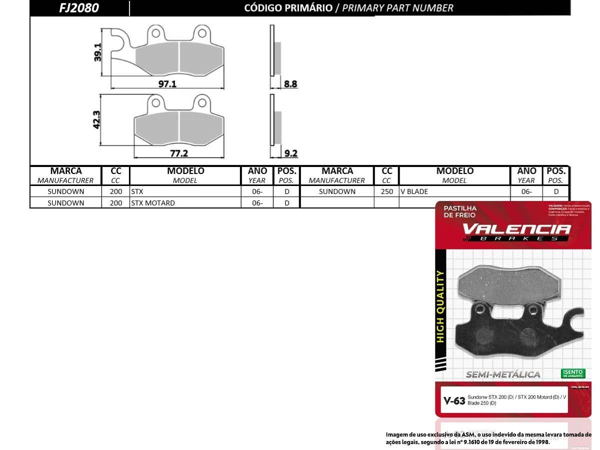 KIT 10 JOGOS DE PASTILHAS DE FREIO DIANTEIRO SUNDOWN STX 200CC 2006... VL BRAKES(V63-FJ2080)