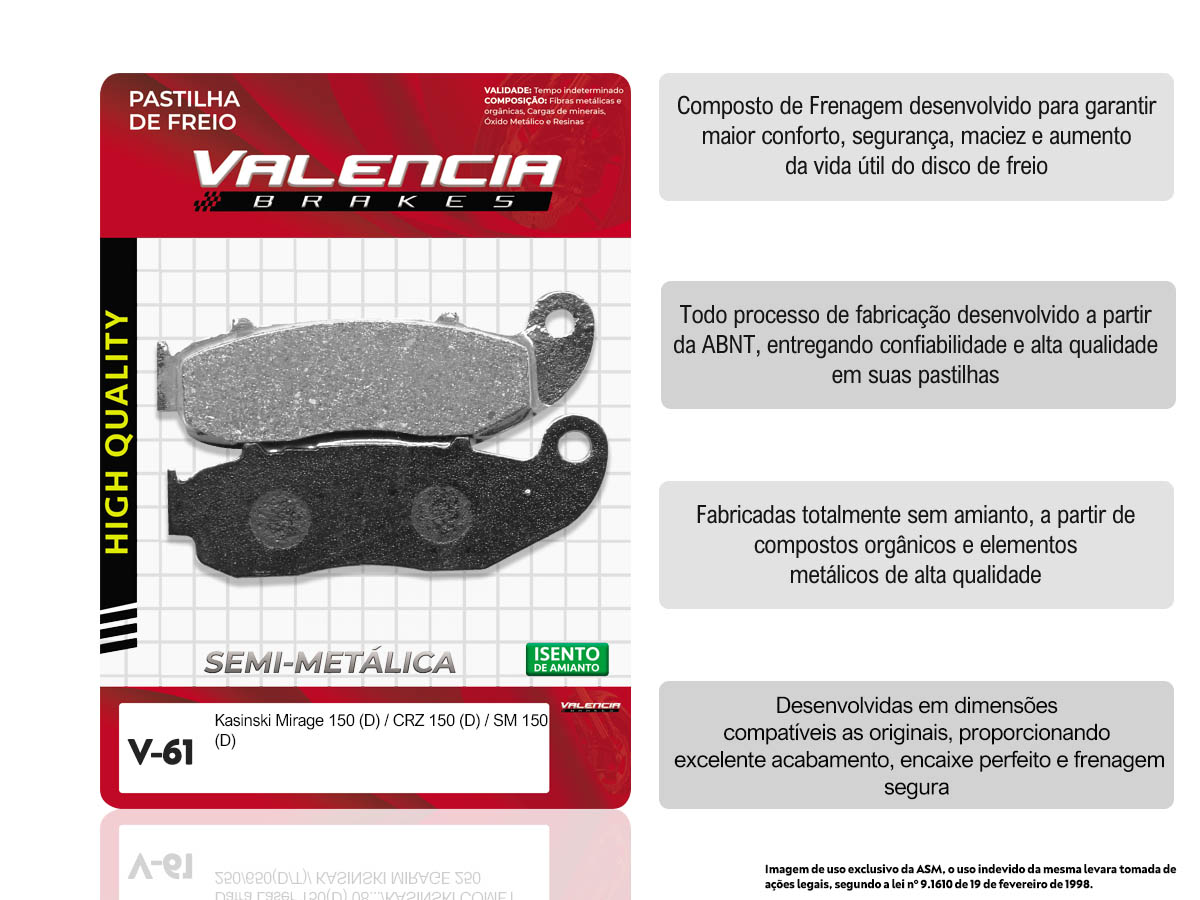 KIT 15 JOGOS DE PASTILHA DE FREIO DIANTEIRO KASINSKI MIRAGE 150/CRZ 150/CRZ 150SM VALENCIA (V61-FJ2420)
